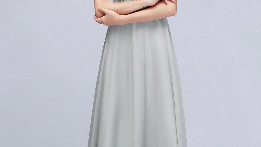 vestidos largos de baile de graduación de gasa de cuello transparente de ilusión