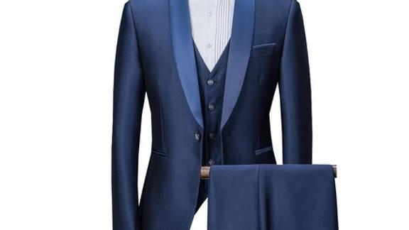 trajes de caballeros para todas ocasion en rojo oscuro y solapa azul claro