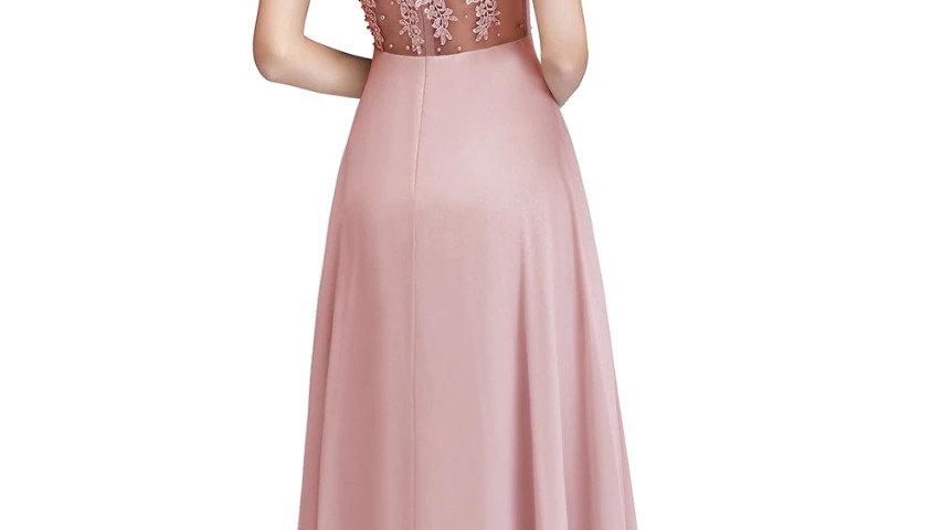 vestidos largos de baile de graduación de gasa de cuello transparente rosa viejo
