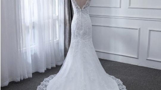 Vestido de novia corte Sirena, con encaje y cristal