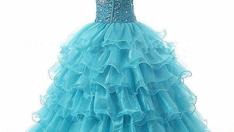 Vestido de Quinceanera de organza y piedras Azul turquesa