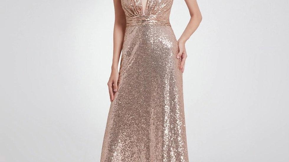 vestido de noche recto moderno con lentejuelas