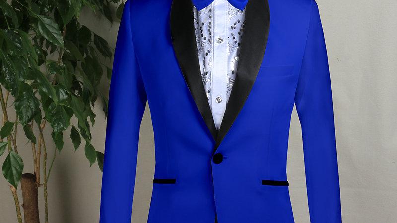 traje elegante para toda ocasion azul con Solapa Negra y Pantalon Pegro