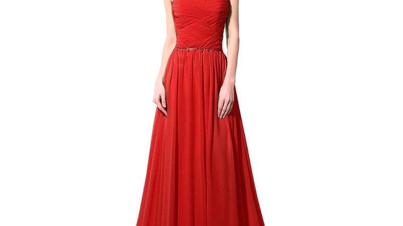 Vestido rojo de noche, con cuentas de cristales, largo hasta el suelo
