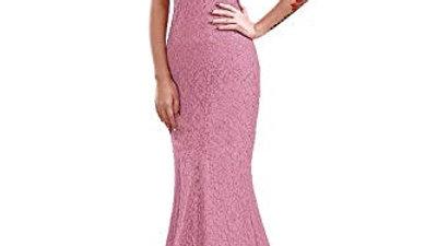 Elegante rosa viejo, VestidoLargo de Noche de Encaje