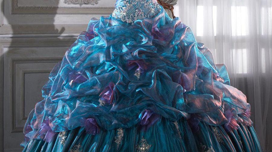 Vestido de Quinceañera azul Tornasol