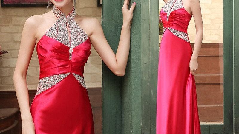 Nuevo vestido de noche de fiesta de longitud hasta el suelo elegante