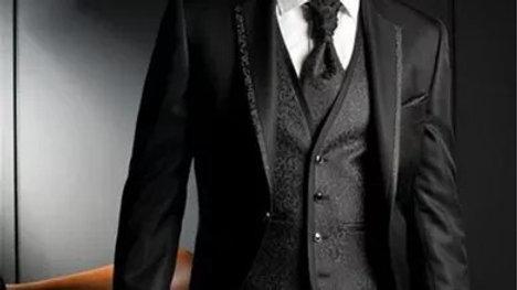 Trajes negro satinada para caballeros