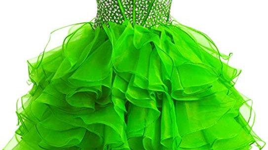 vestido corto verde  manzana
