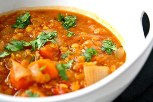 Lentil Stew with carrots and onions