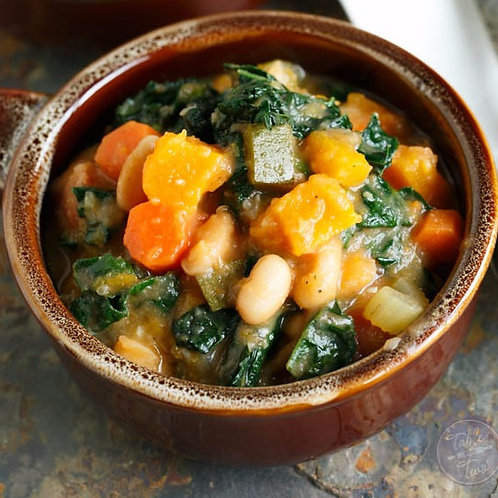 Butternut Squash, Kale, White Bean Soup