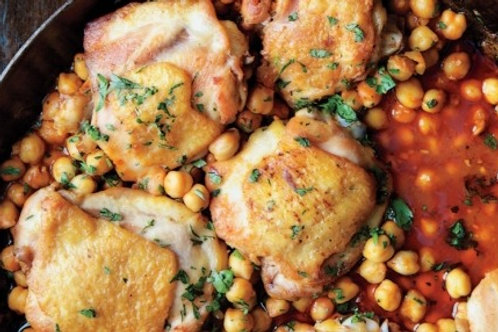 Harissa Braised Chicken and Garbanzo Beans