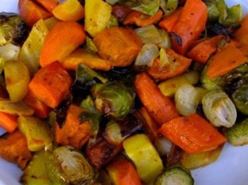 Sweet Potato, Brussels, Carrots