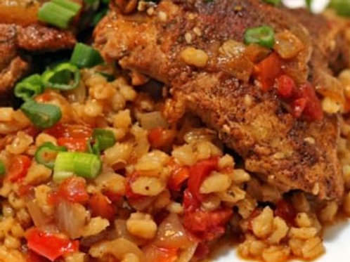 Smothered Moroccan Chicken with Barley