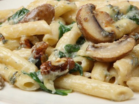 Spinach and Mushroom Penne with Gorgonzola Cream Sauce