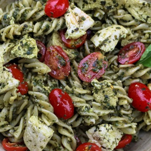 Pesto Pasta Salad with Chicken and Salami