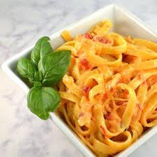 Roasted Red Pepper and Tomato Fettuccine Alfredo