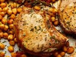 Pork Chops with roasted chickpeas