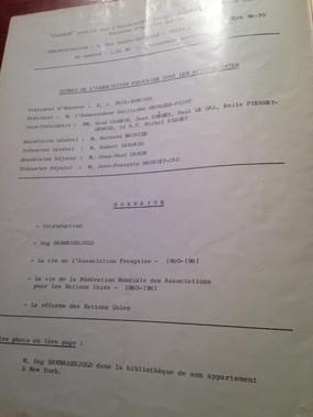 Board of AFNU, 1961: Honorary President: M. PAUL-BONCOUR, President of the Council and President of AFNU : Ambassador GEORGES-PICOT