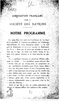 Program of the French Association for the United Nations, 1918