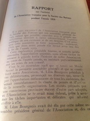 Rapport sur l'activité de l'Association française pour les Nations Unies en 1919