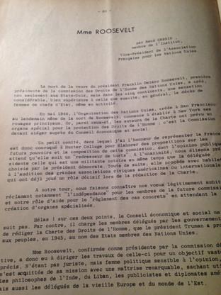 Hommage de René CASSIN, Vice-Président de l'Association française pour les Nations-Unies, à l'occasion de la disparition de Mme ROOSEVELT.