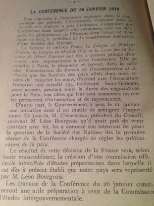 Conférence du 26 janvier 1919 à Paris à l'initiative de l'Association française pour les Nations Unies avec les délégués de l'Entente pour la constitution immédiate d'une Société des Nations