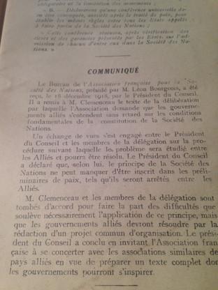 Réception du Bureau de l'Association française pour la Société des Nations, présidé par M. Léon BOURGEOIS, le 18 décembre 1918 par le Président du Conseil, G. CLEMENCEAU