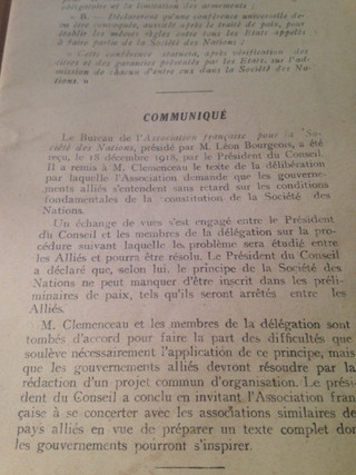 Reception of the official documents of the French Association for the League of Nations, chaired by Mr. Léon BOURGEOIS, on December 18, 1918, by the President of the Council, G. CLEMENCEAU Office