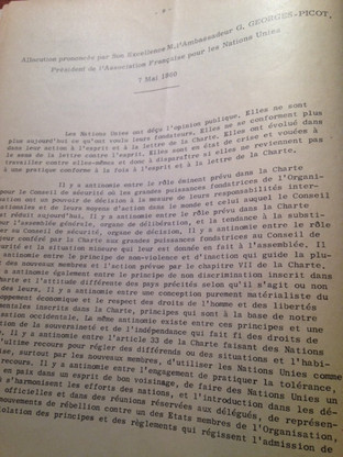 Speech of the President of  AFNU, Mr. GEORGES-PICOT, on the Charter, May 7th, 1960