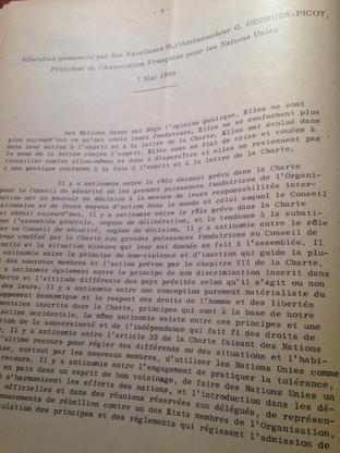 Allocution sur la Charte prononcée par le Président de l'AFNU, M. GEORGES-PICOT, le 7 mai 1960
