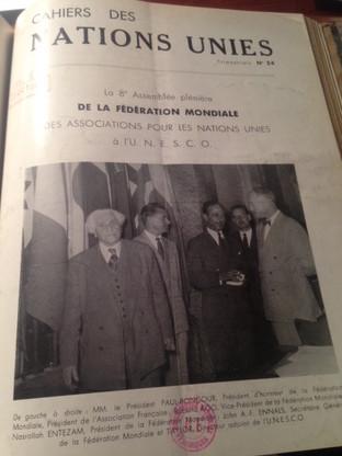 8ème Assemblée plénière de la Fédération Mondiale des Associations pour les Nations Unies à l'UNESCO (en couverture le président PAUL-BONCOUR)