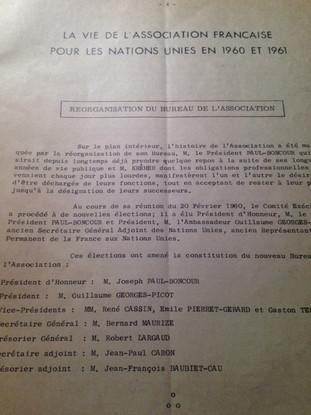 Réorganisation du Bureau de l'AFNU en 1960