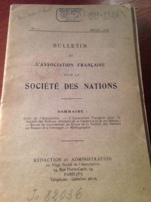 Bulletin de l'Association Française pour la Société des Nations   n°2, Janvier 1919