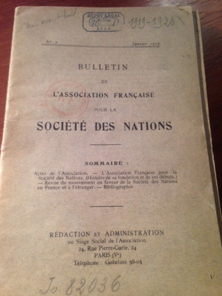 NewsLetter 2, of the French Association for the League of Nations, January 1919