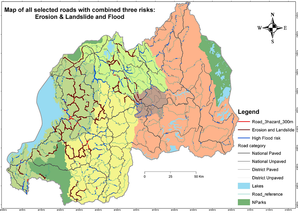 Map of Rwandan roads with erosion, landslide and flood risks
