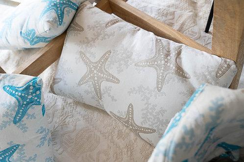 Cuscini con stelle marine turchesi e tortora, cad