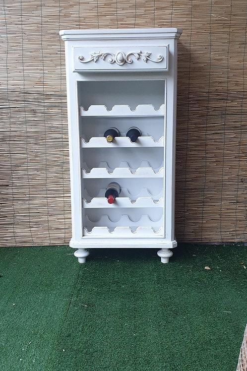 Mobile Cantinetta porta bottiglie in legno bianco con cassetto