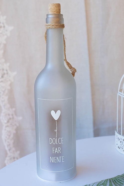 """Bottiglia lanterna in vetro """" Dolce far niente"""""""