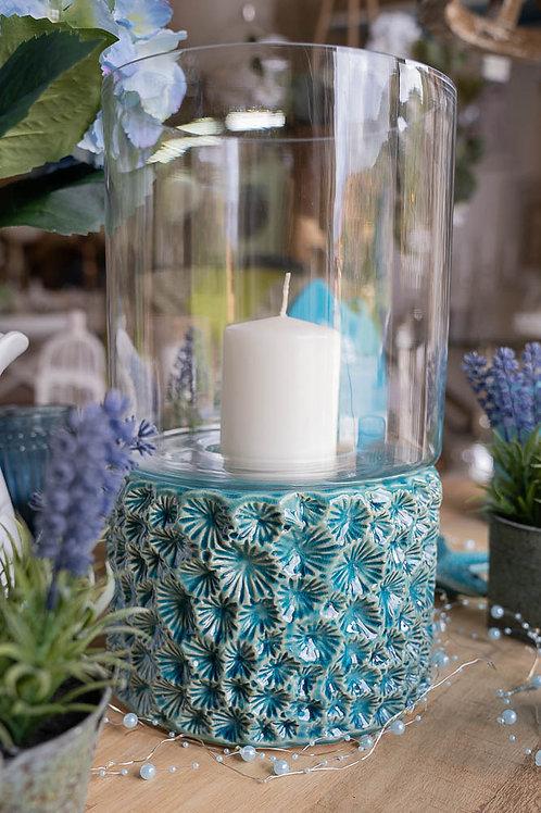 Lanterna blu coral turquoise in ceramica e vetro