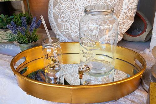 Vassoio specchio e oro ovale