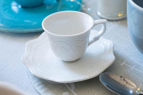 Set tazzine da caffè da 2 pz. con piattino e vassoio in ceramica coordinato