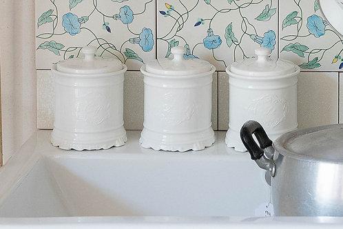 Barattolo in ceramica bianco