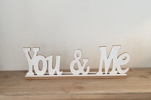 """Scritta in legno bianca """"You & Me"""""""