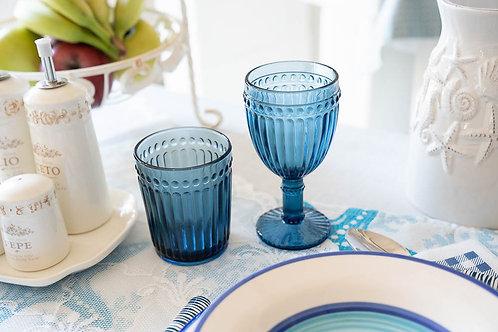 Servizio bicchieri e calici vetro blu cad