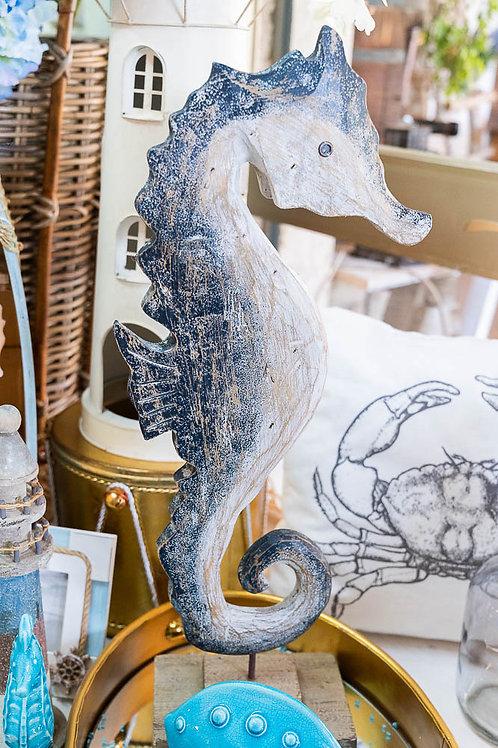 Cavalluccio marino in legno, bianco e blu
