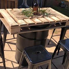 Pallet Drum Table and Metal bar stools