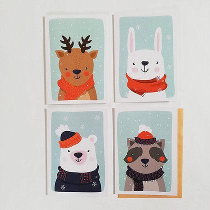 Kerstkaarten 'Winter dieren' set van 8