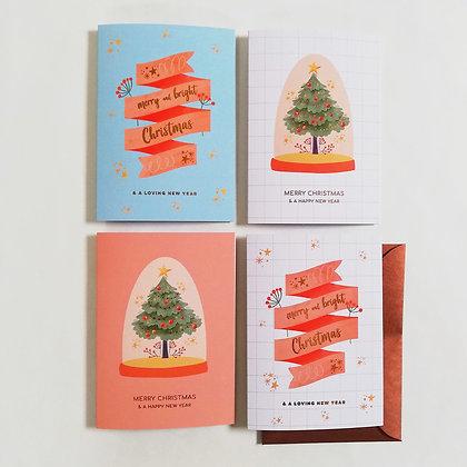 Kerstkaarten 'Pastel colours' set van 8