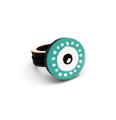 Ξύλινο δαχτυλίδι Green Eye
